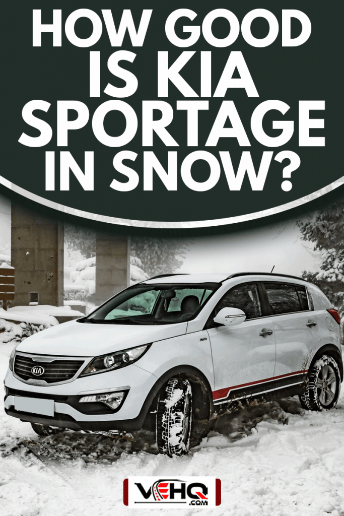 Car Kia Sportage 2.0 CRDI awd or 4x4, white color, in a forest road, covered with deep snow and ice, How Good Is Kia Sportage In Snow?