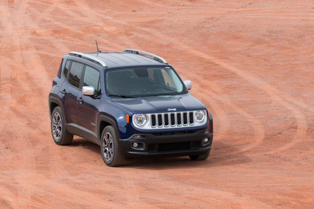 Jeep Renegade on deserted land of Monument Valley Navajo Tribal Park