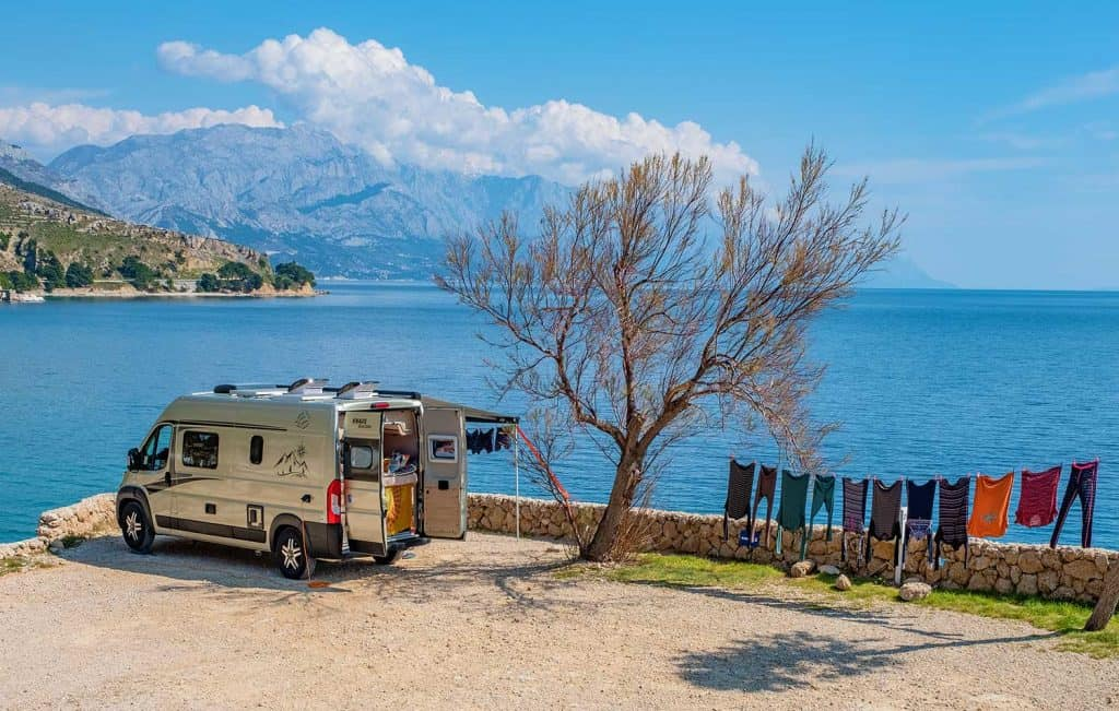 Motorhome in camping site with sea view