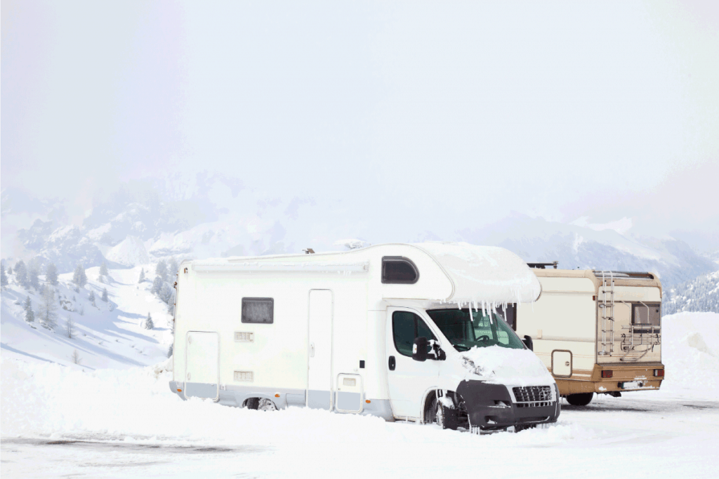 Snowed-motorhomes-at-winter-mountains.-How-To-Keep-The-RV's-Grey-Water-Tank-From-Freezing