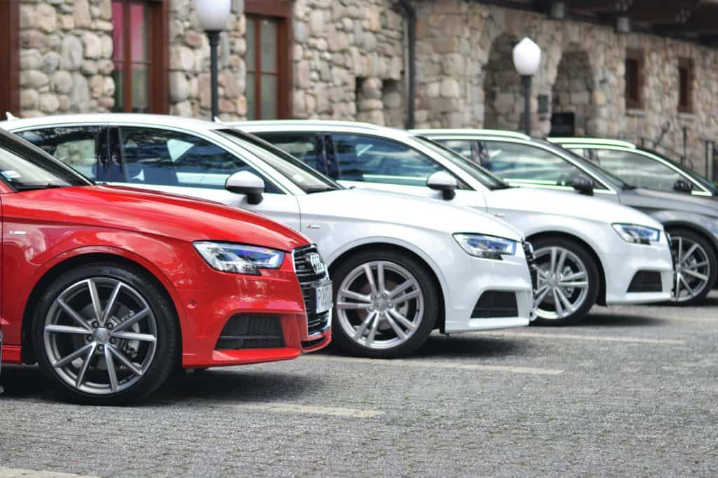 The Audi A3 vehicles stopped on the parking during the presentation. These vehicles are the ones of the most popular premium cars in the world.