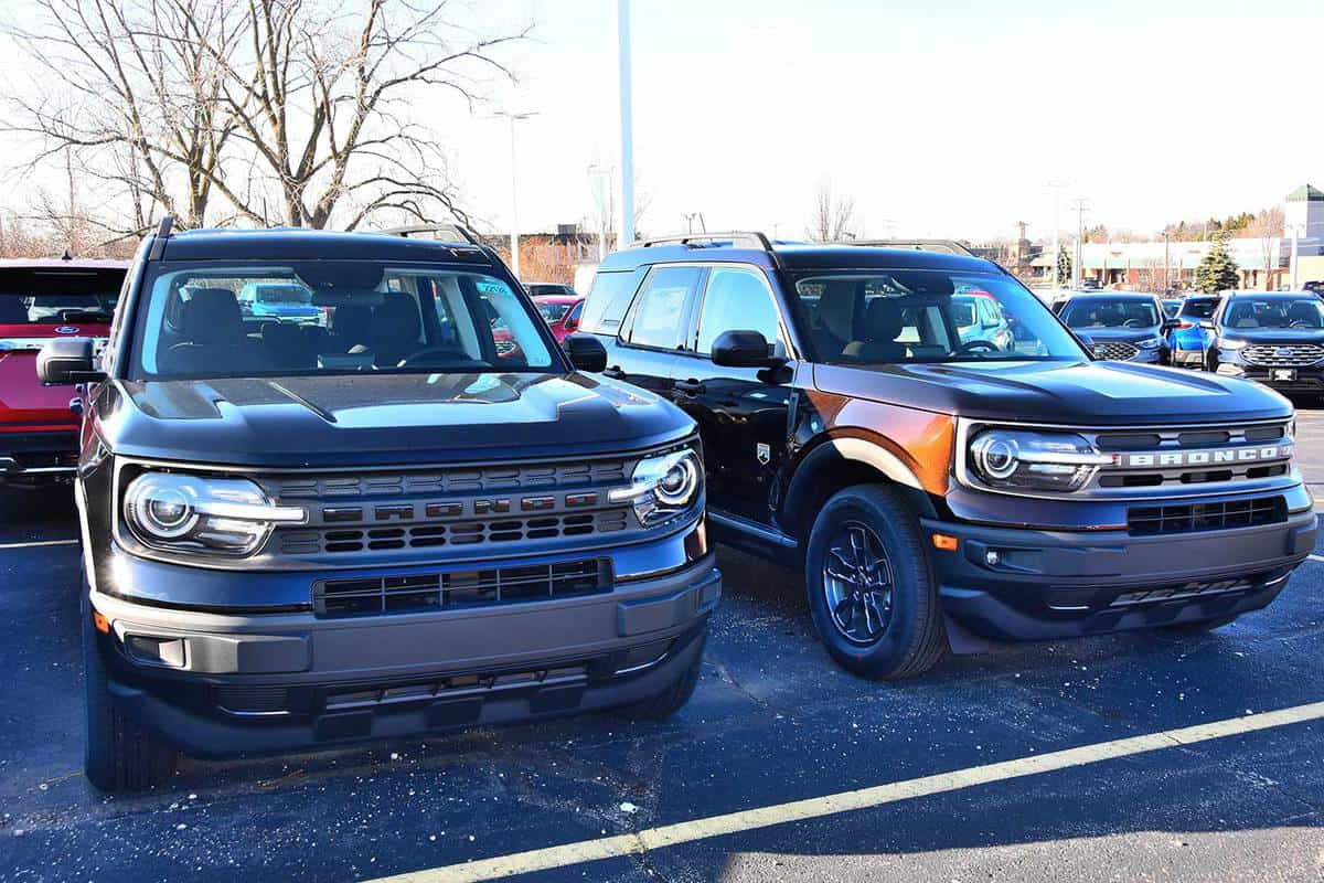 The front of the new 2021 Ford Bronco Sport vehicles at car dealership