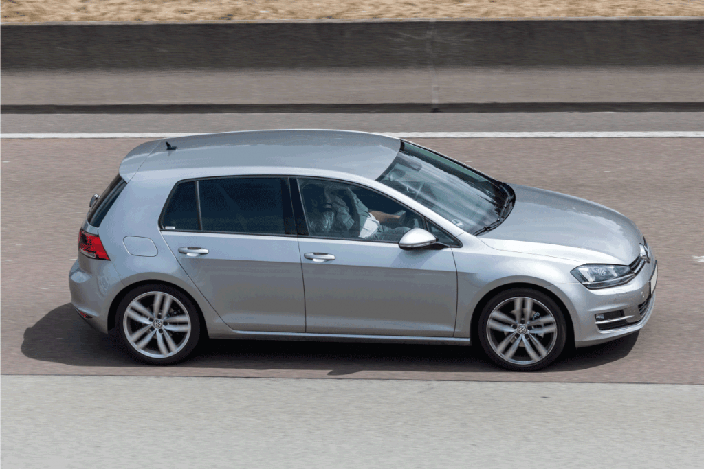 Volkswagen Golf compact car driving on the highway. Can A Volkswagen Golf Tow A Trailer
