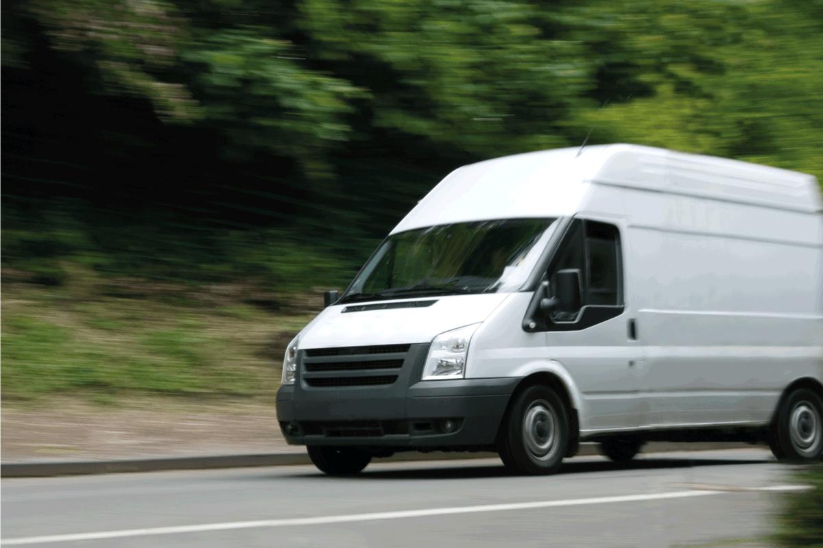 White Van Moving Fast