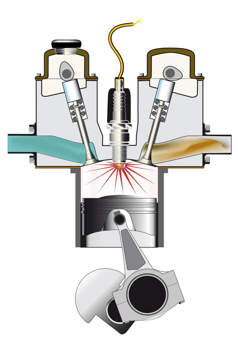 illustration of a gasoline combustion engine