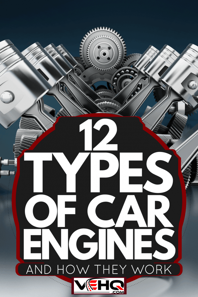 An illustration of a V8 engine on a grey background, 12 Types Of Car Engines [And How They Work]