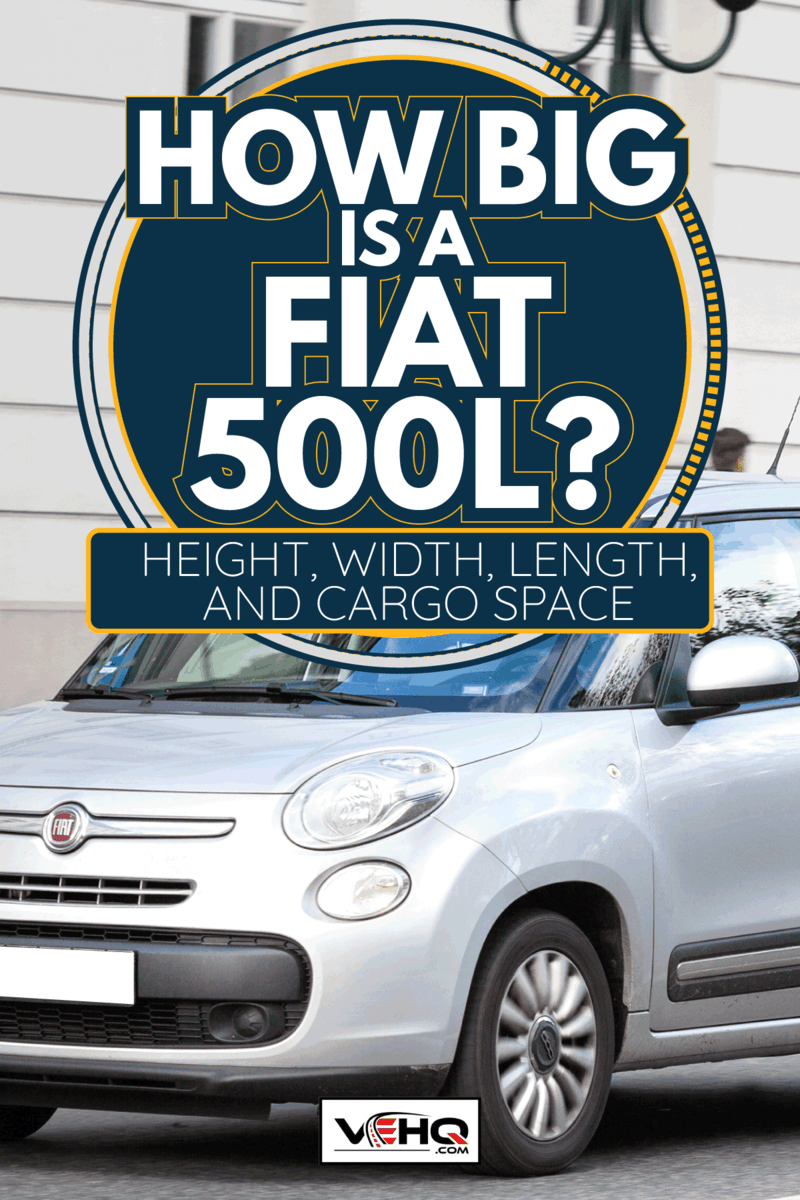 A male driver in a silver-metallic Fiat 500L drives through the streets. How Big Is A Fiat 500L [Height, Width, Length, And Cargo Space]