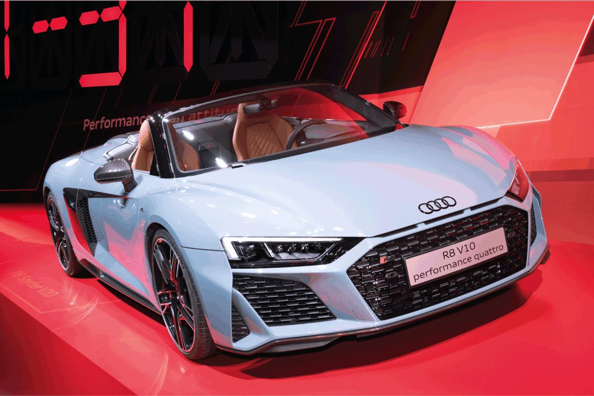 Audi R8 V10 Performance Quattro on display at a car show