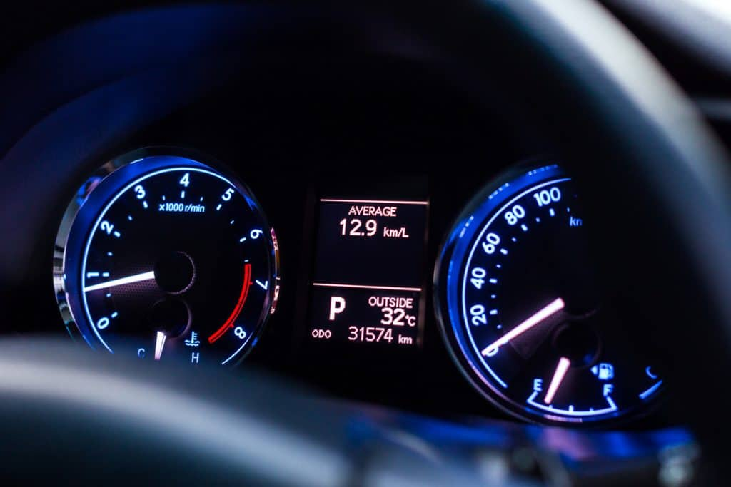 Car dashboard display with blue light