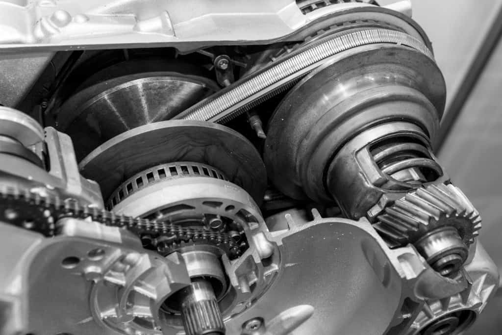 Continuously Variable Transmission (or CVT) cutaway. Modern car spare parts, black and white image