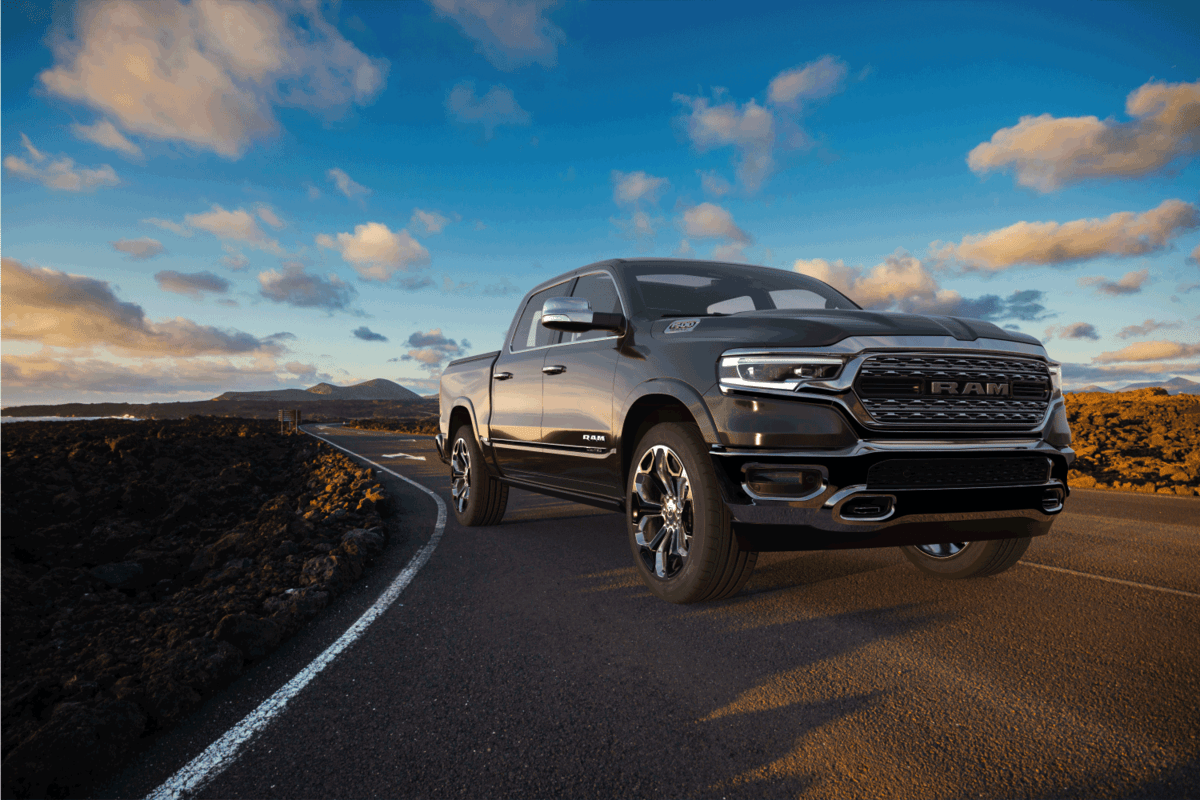 Dodge RAM 1500 on a paved road