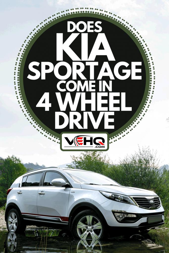 A white Kia Sportage 2.0 CRDI crossing a lake, Does Kia Sportage Come In 4 Wheel Drive