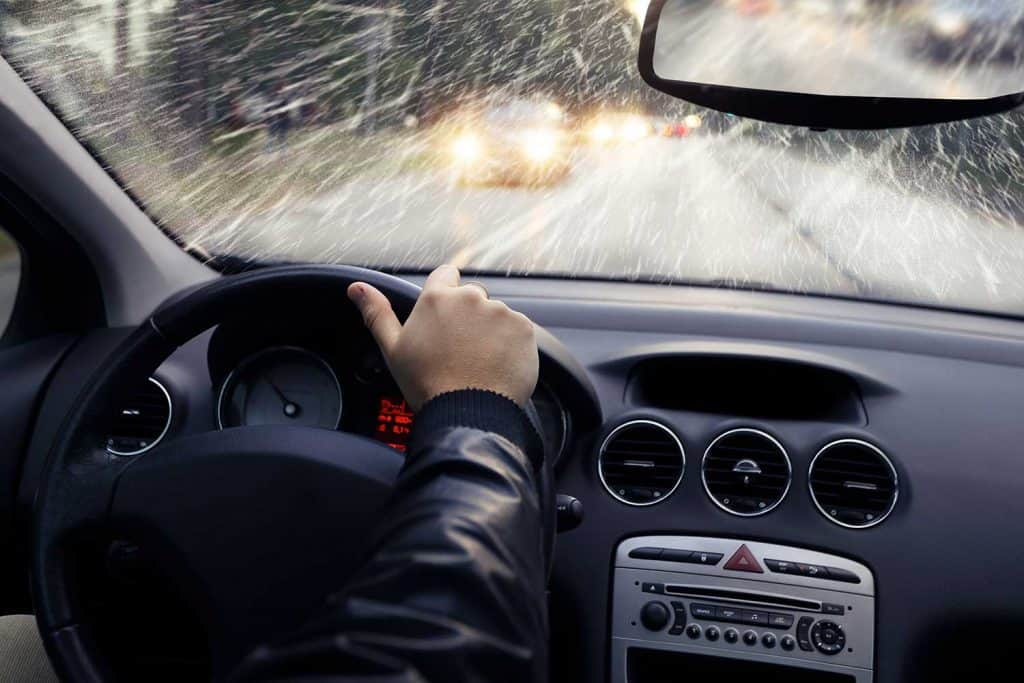 Driving car on a rainy day