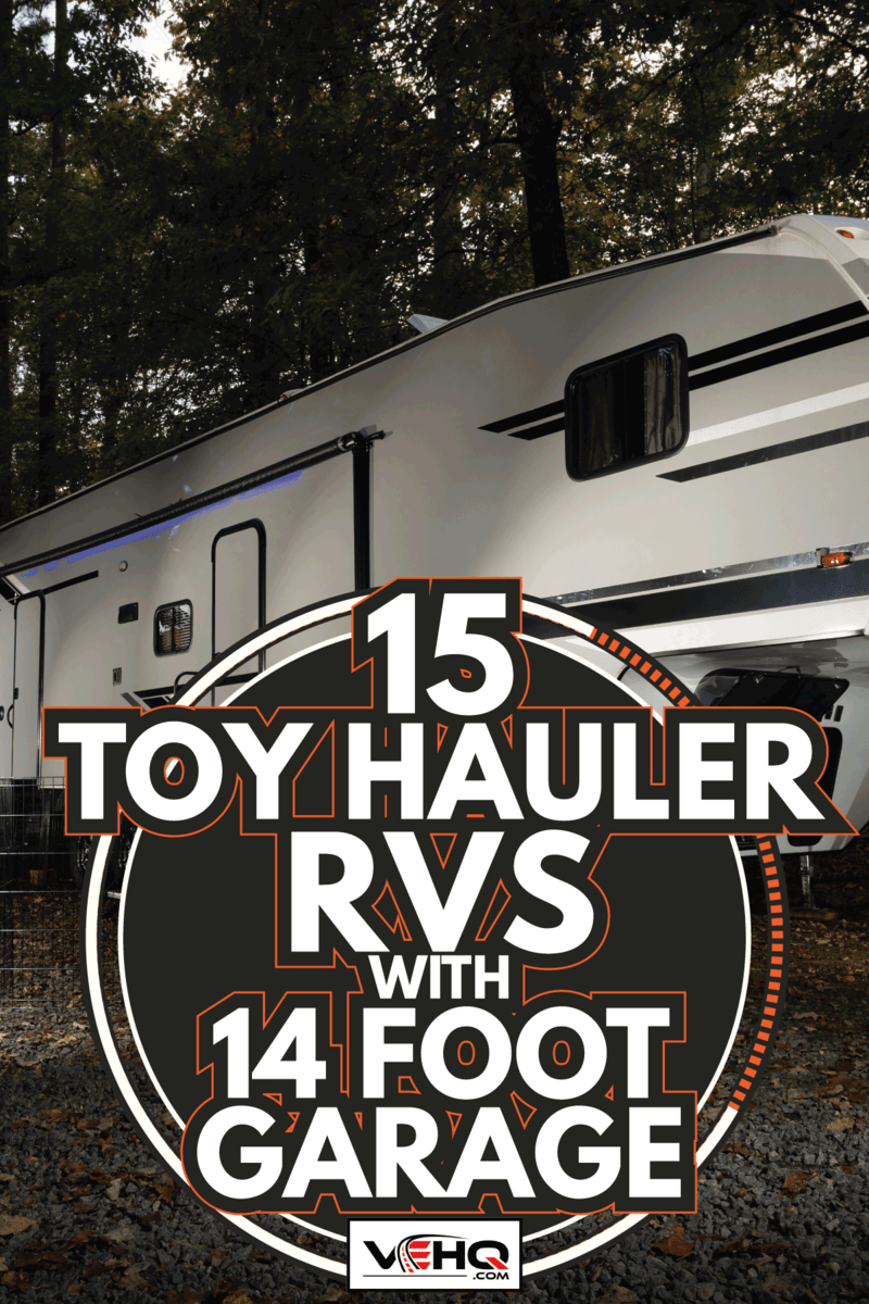 Fifth wheel trailer that is a toy hauler camping in North Carolina. 15 Toy Hauler RVs With 14 Foot Garage