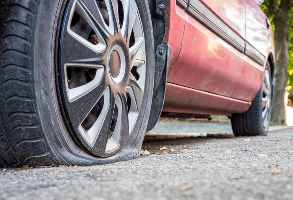 Flat tire on the roadside