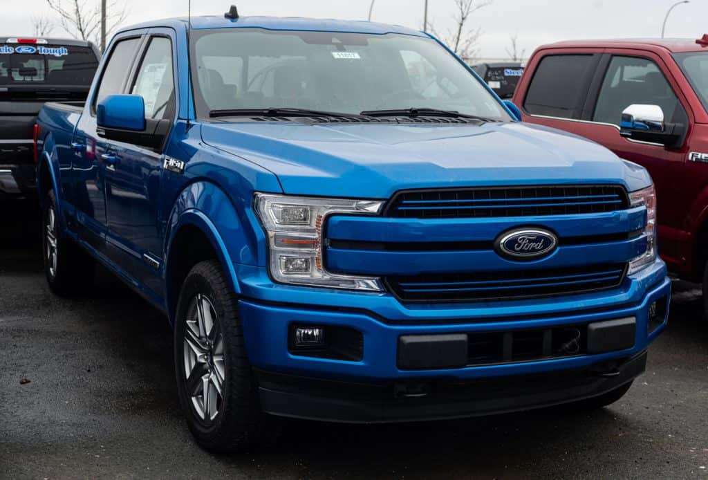 Ford F-150 pickup truck at a dealership