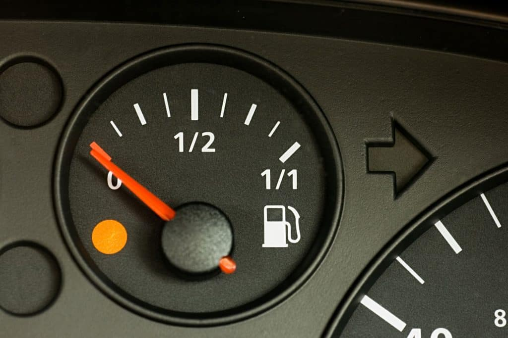 Fuel gauge indicating zero and near to empty