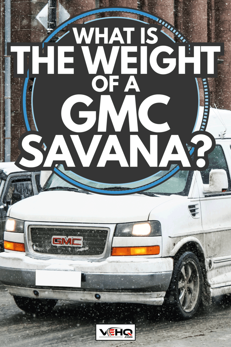 GMC Savanna cruising on a snowy street together with other vehicles. What Is The Weight Of A GMC Savana