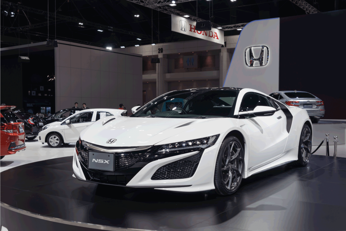 Honda NSX white color super car on display in big event car show Motor Expo