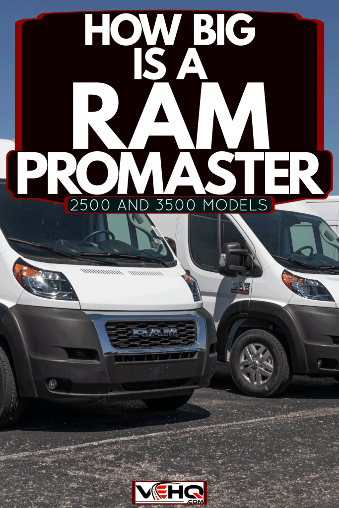 Three Ram Promast er 2500 full sized vans parked on the side of a parking lot, How Big Is A Ram ProMaster? [2500 And 3500 Models]
