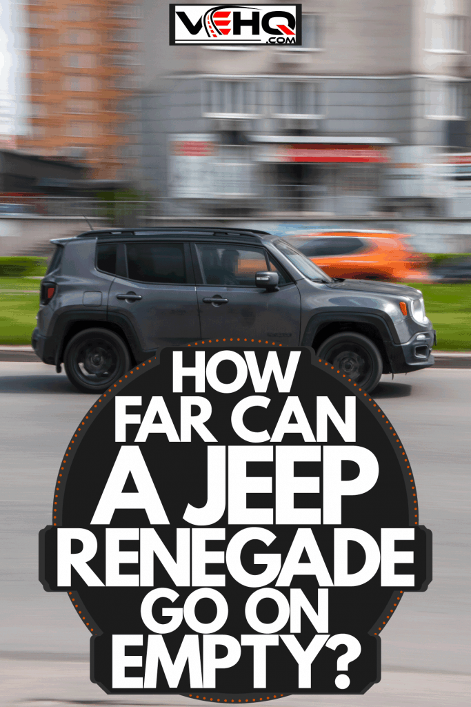 A black Jeep Renegade moving fast on the highway, How Far Can A Jeep Renegade Go On Empty?