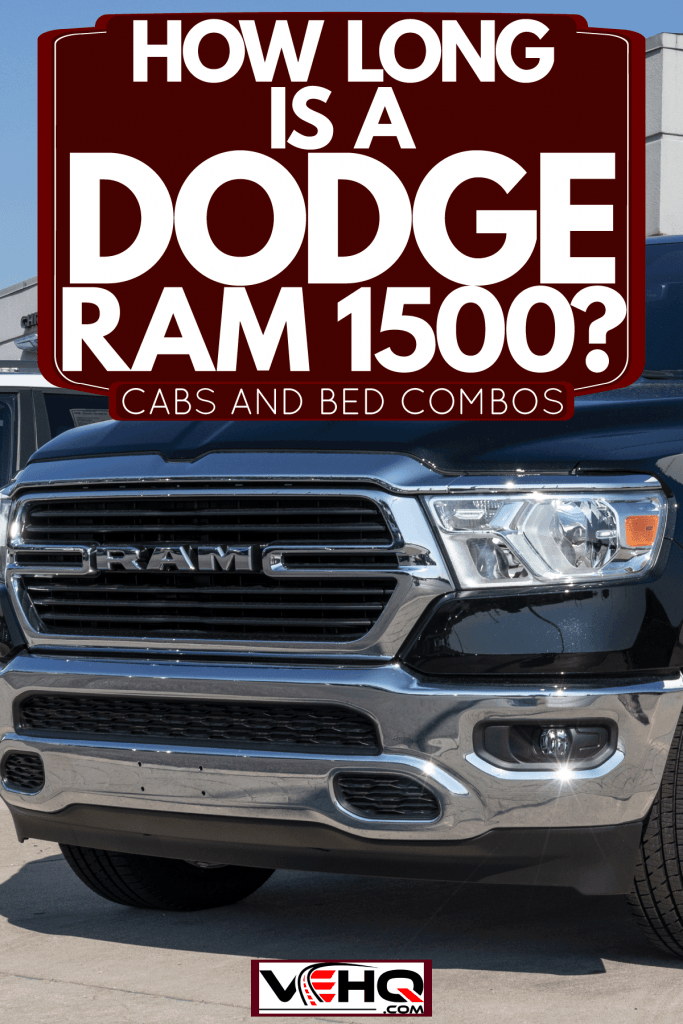 A black dodge ram 1500 parked outside the parking lot of a restaurant, How Long Is A Dodge Ram 1500? [Cabs And Beds Combos]