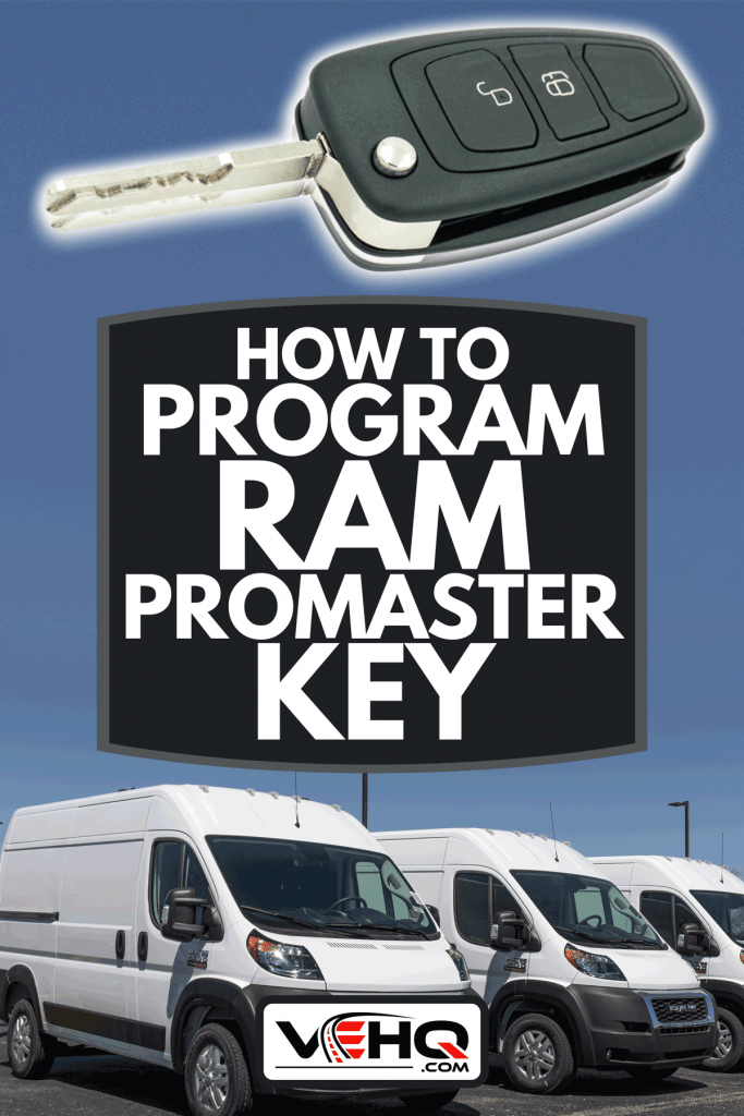 Collage of a RAM promaster key and Ram 1500 ProMaster display at a Chrysler dealership, How To Program Ram Promaster Key