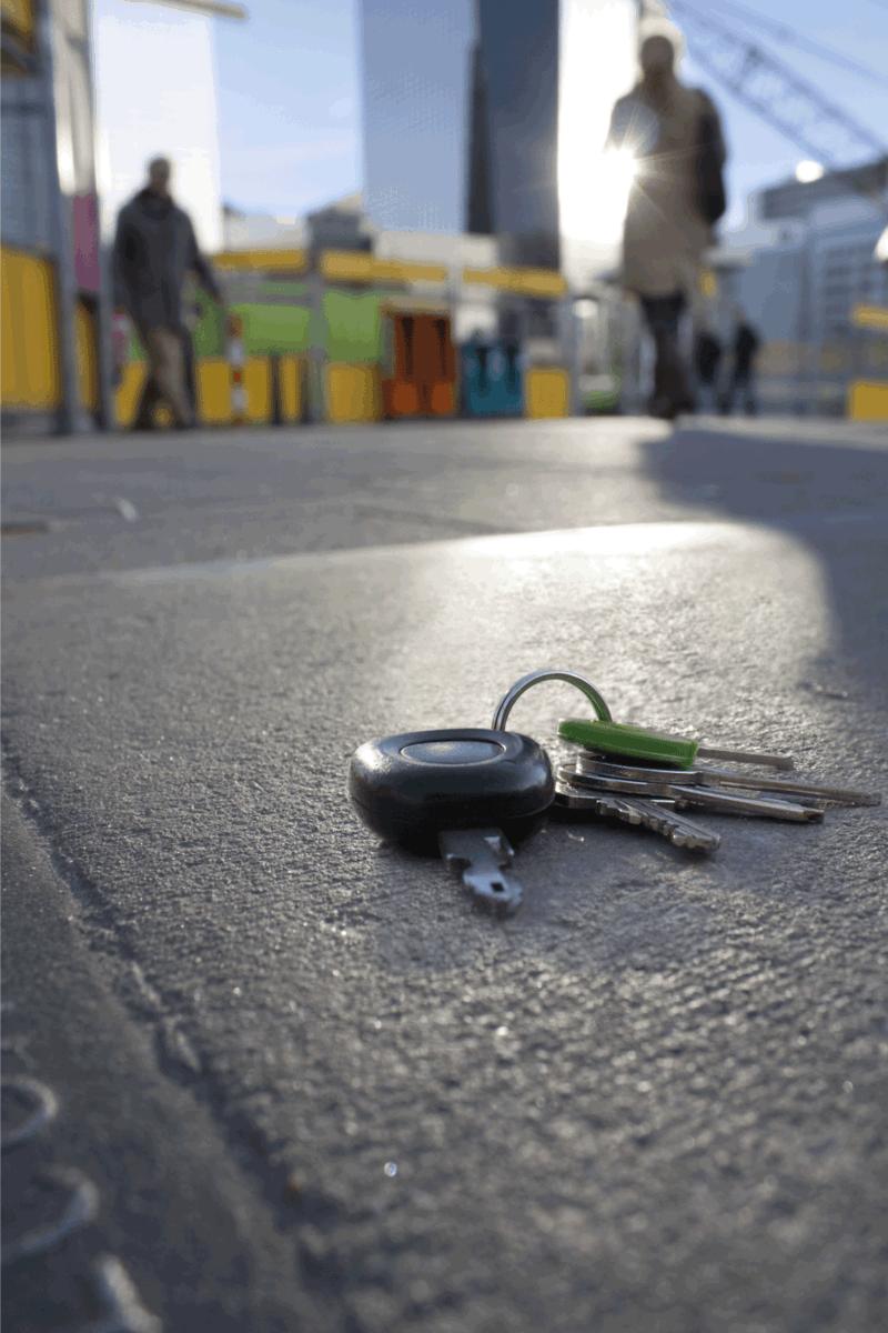 Lost keys on the sidewalk