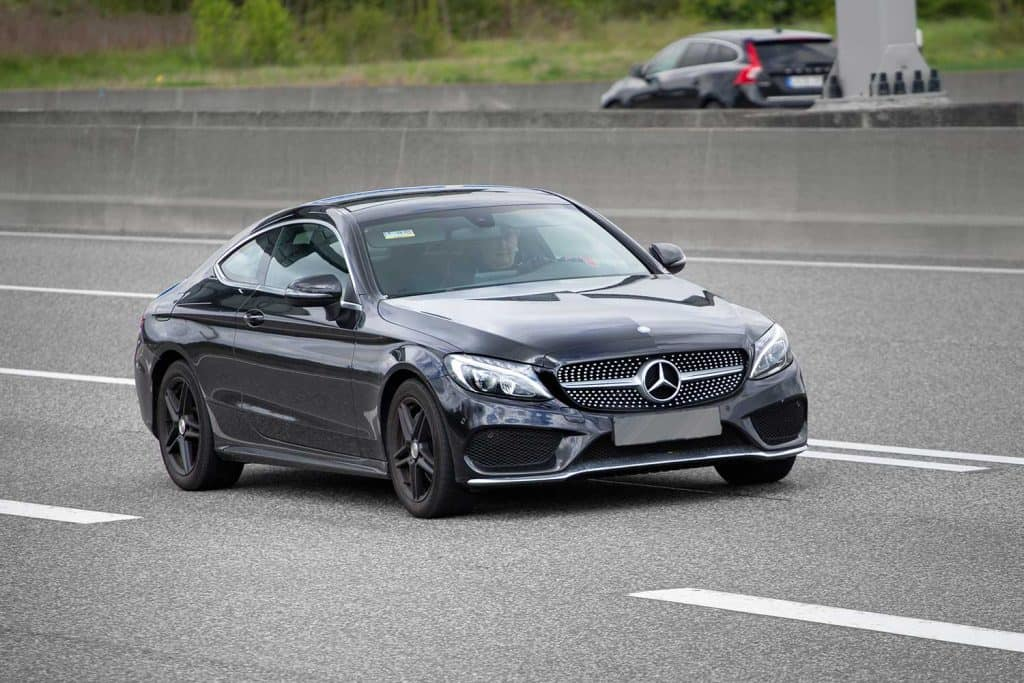 Mercedes-Benz E-class Coupe on a highway