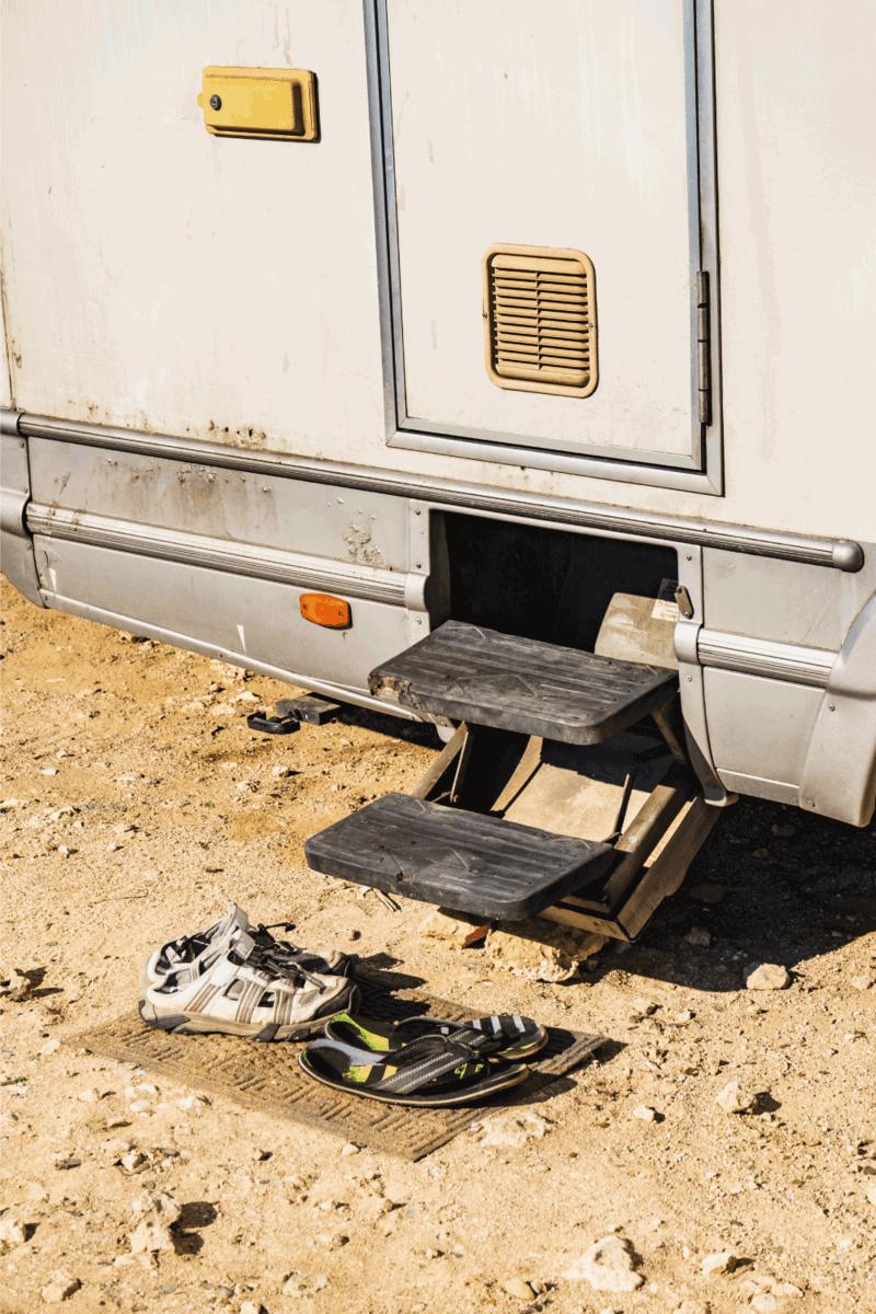 Metal steps of camper car recreation vehicle. Travel in motorhome, holidays.