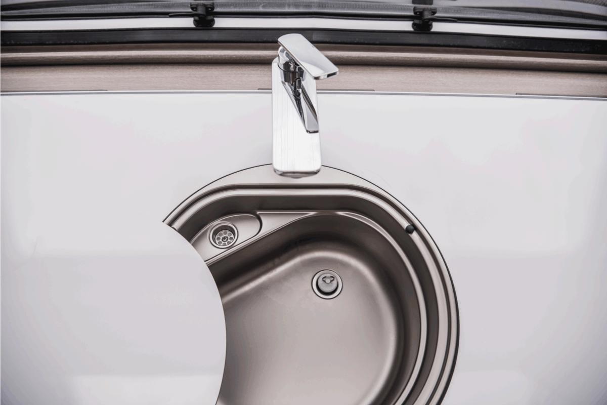 Modern Motorhome Camper Circular Sink. RV Appliances.