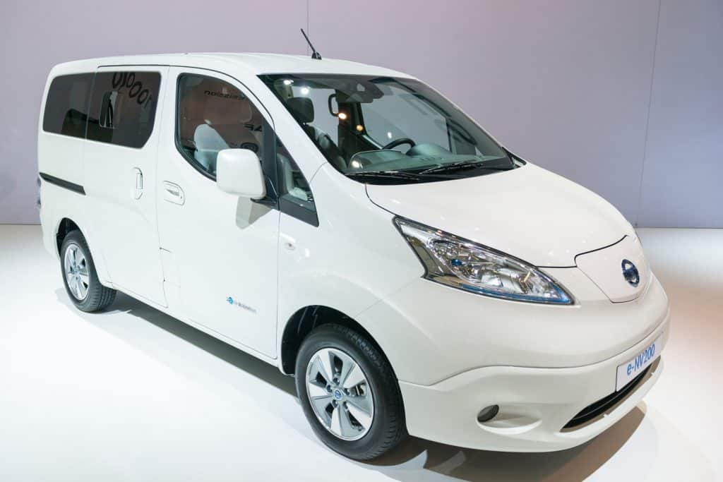 Nissan e-NV200 light full electric commercial vehicle. The e-NV200 is an all-electric car, that produces no tailpipe pollution or greenhouse gas emissions.