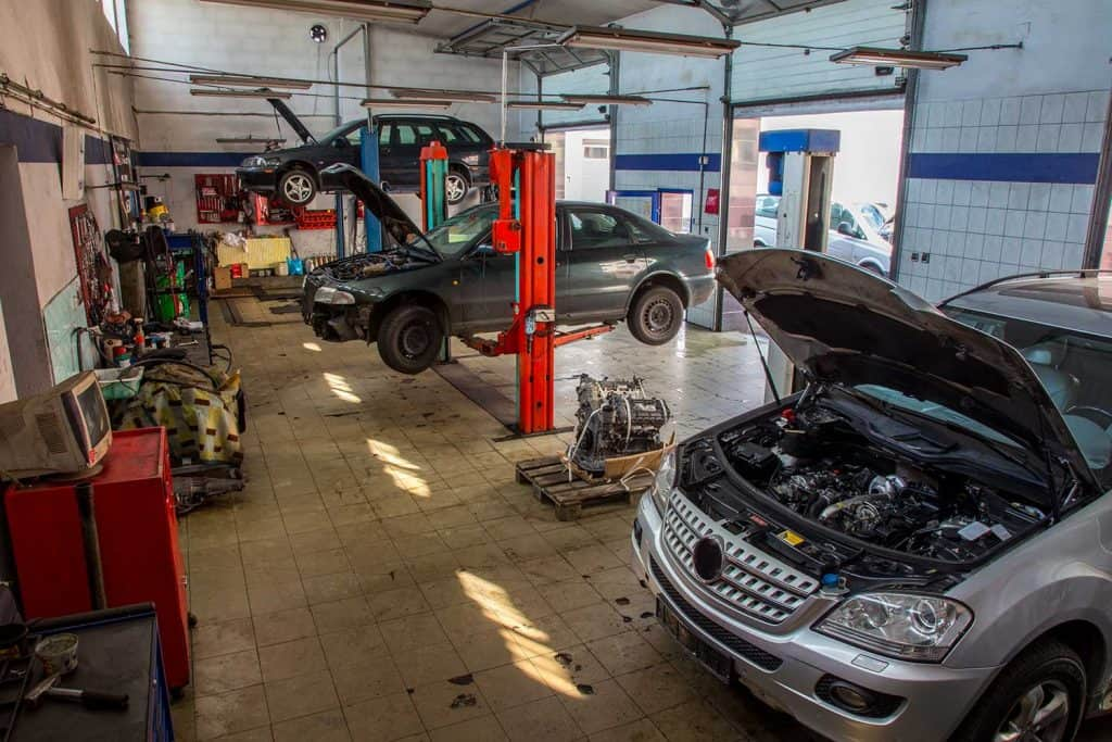Old style car service with the cars inside