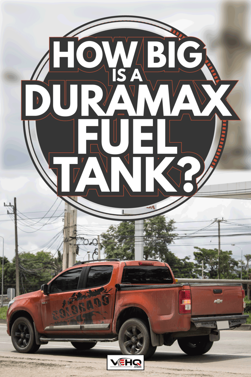 Private Pickup car, Chevrolet Corolado Duramax on a downtown road. How Big Is A Duramax Fuel Tank