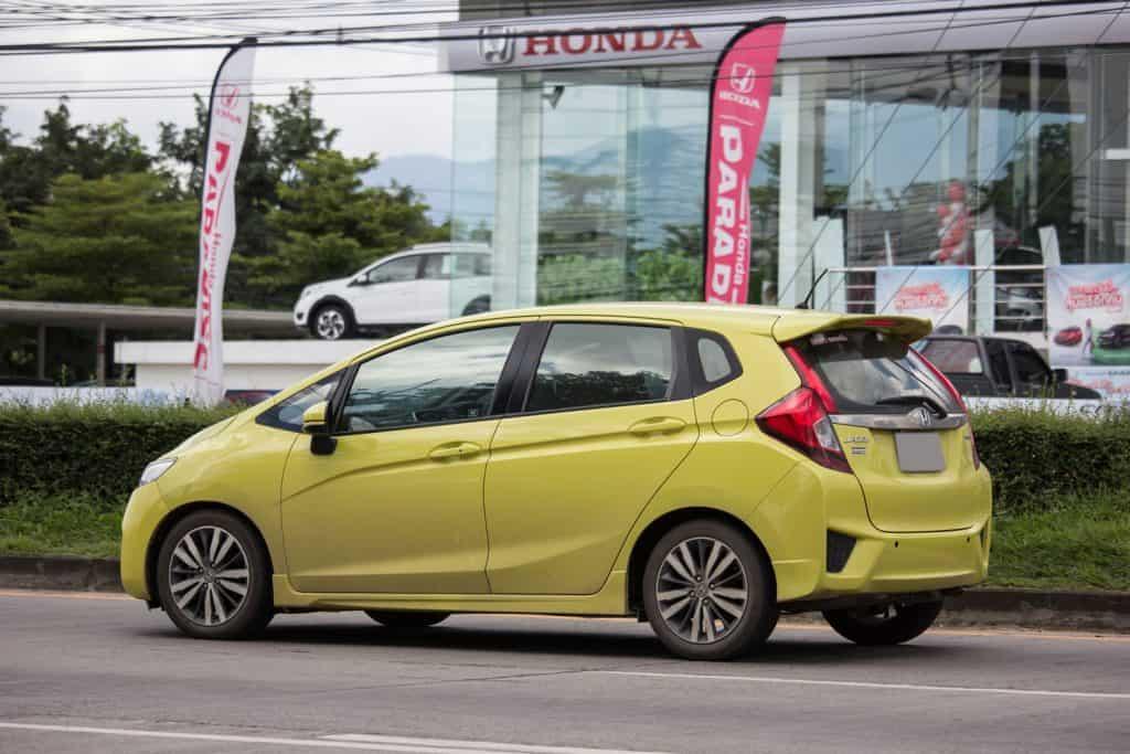 Private city Car Honda Jazz. Five door hatchback automobile, Does Honda Fit Have Apple Carplay?