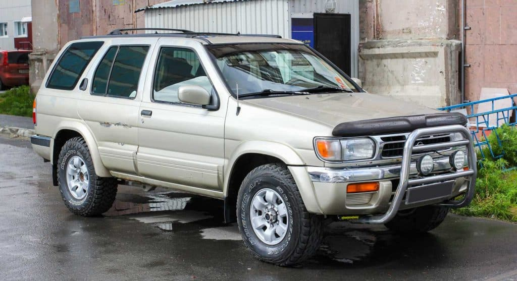 Sport utility vehicle Nissan Terrano in the city street