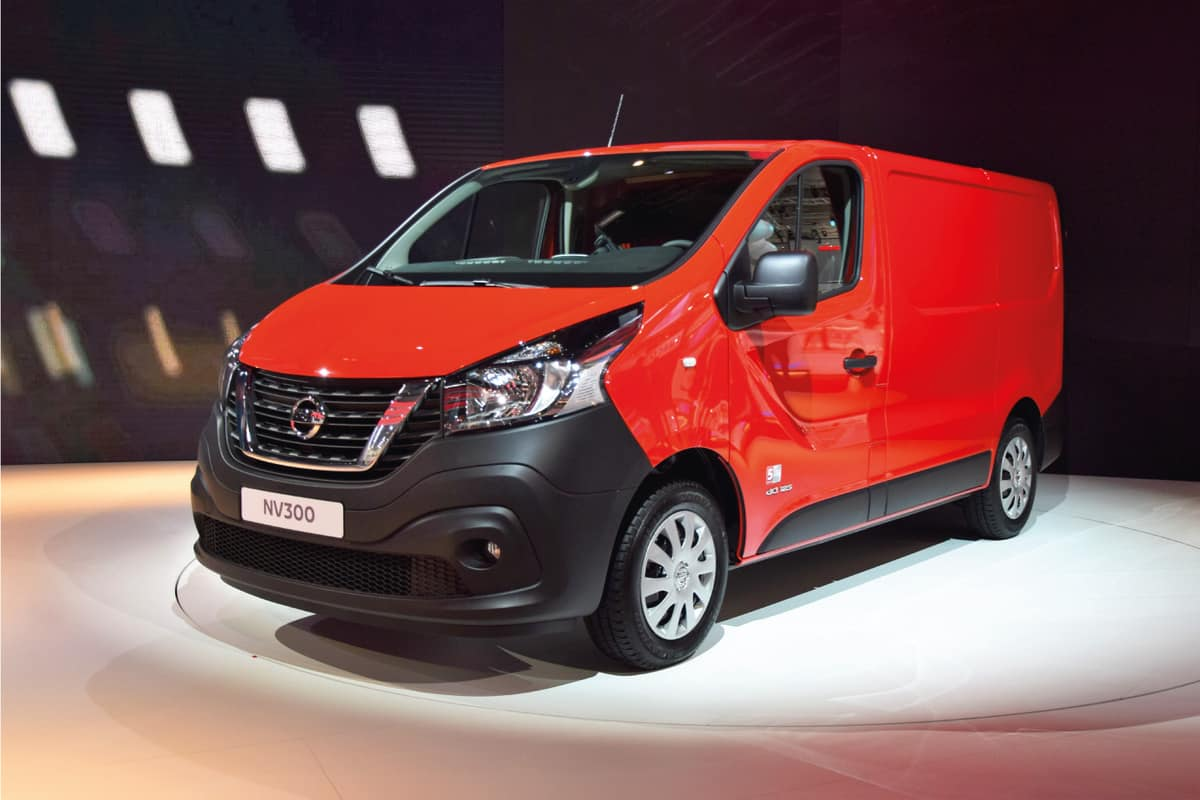 The presentation of the new light commercial vehicle Nissan NV300 on the motor show.