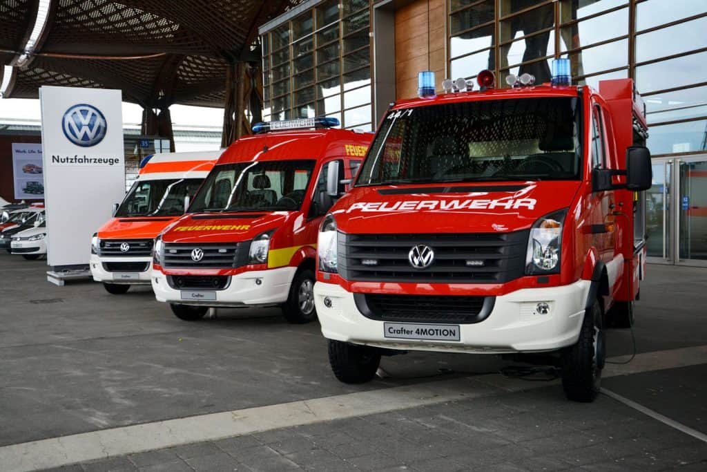 Volkswagen Crafter vehicles in firetruck and ambulance versions on the motor show