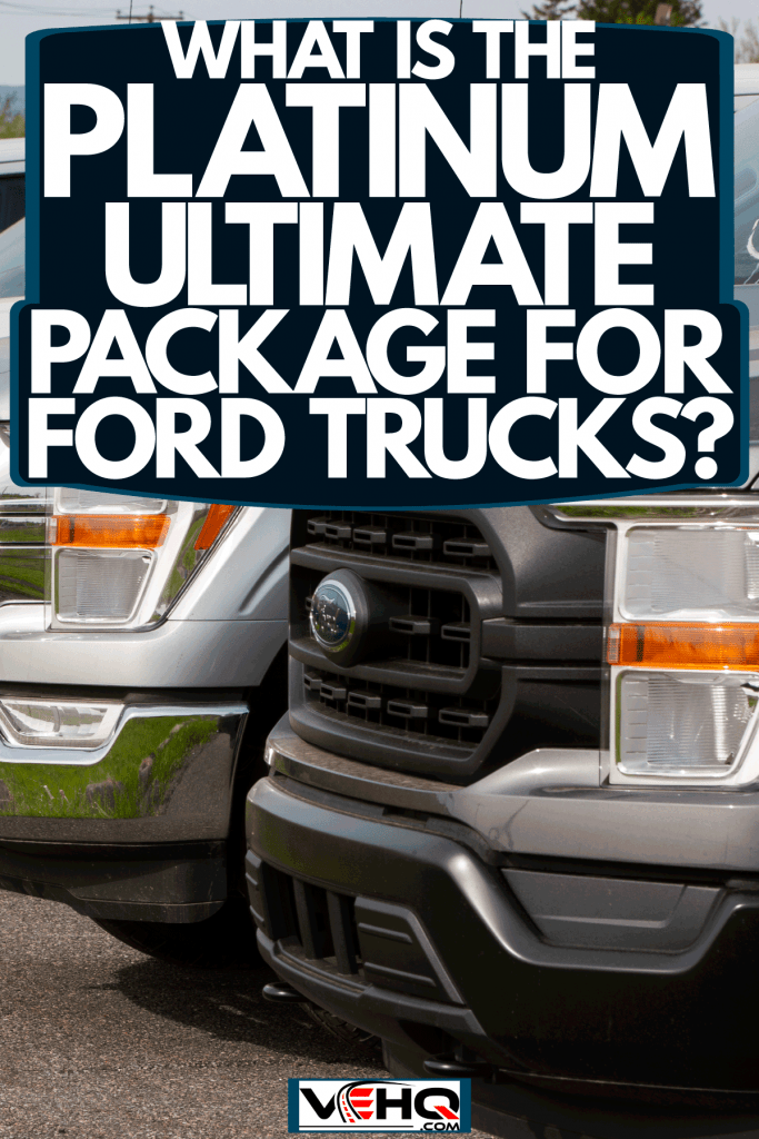 Ford F-150s lined up at a dealership, What Is The Platinum Ultimate Package For Ford Trucks?