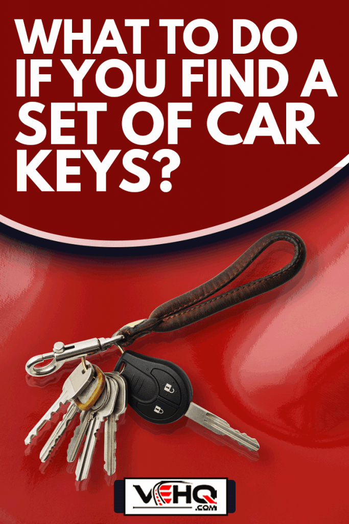 Bunch of Keys with leather key ring isolated on on shiny red vinyl background with copy space, What To Do If You Find A Set Of Car Keys?