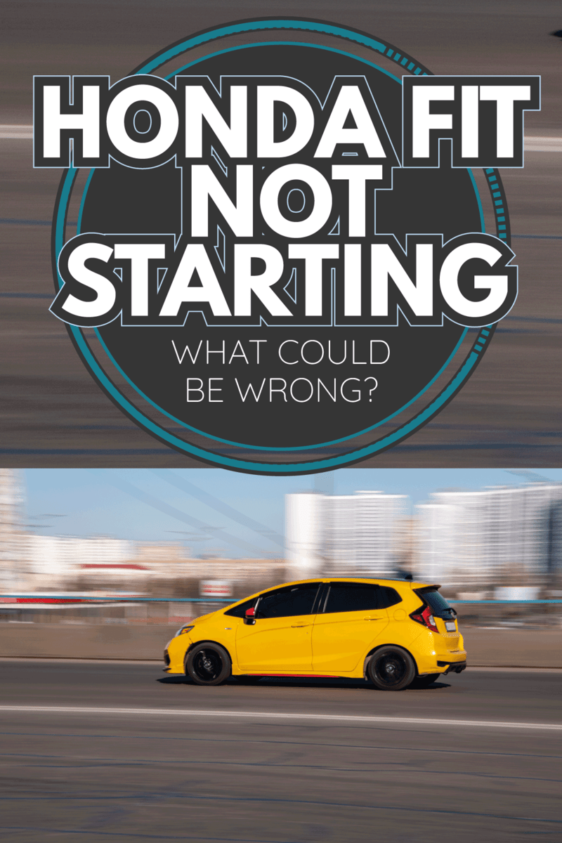 Yellow Honda Fit car moving on the street. Honda Fit Not Starting - What Could Be Wrong
