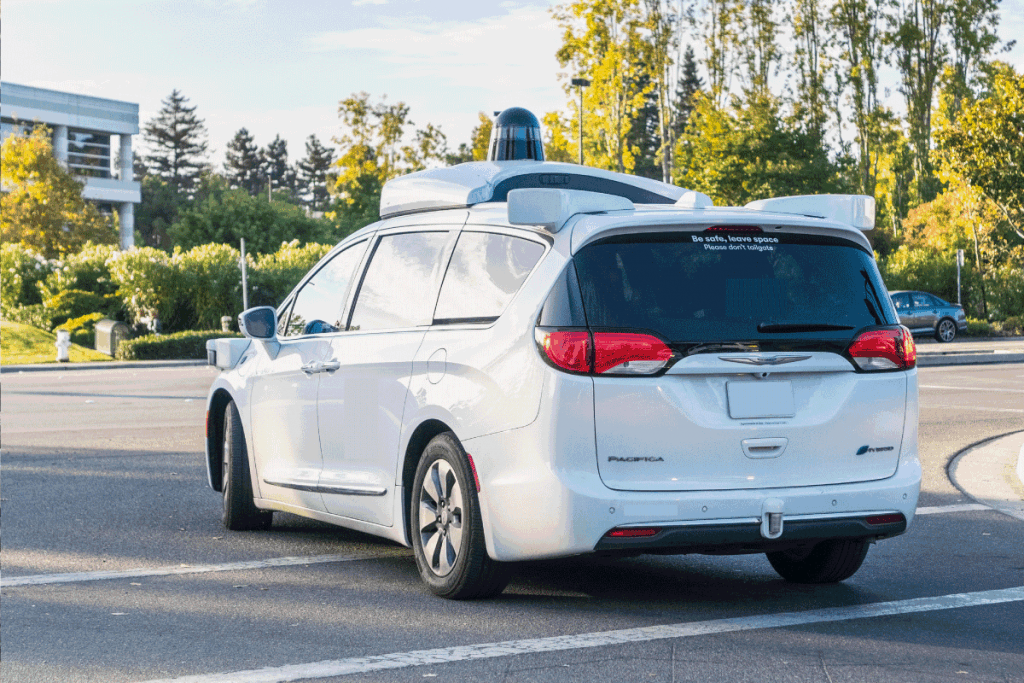 chrysler pacifica with self driving capabilities on a public road for testing
