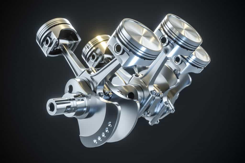 Illustration of a V6 crank engine on a dark background