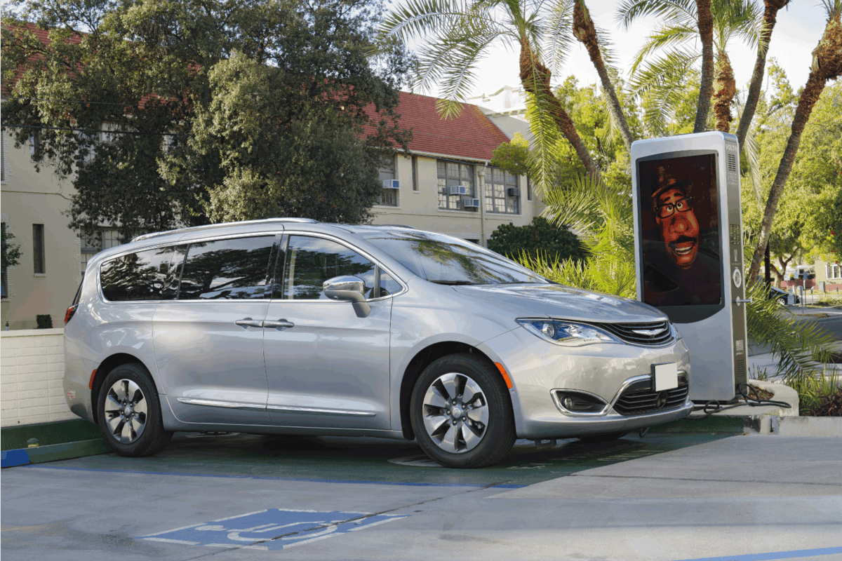 image of a Chrysler Pacifica shown at a free charging station in the City