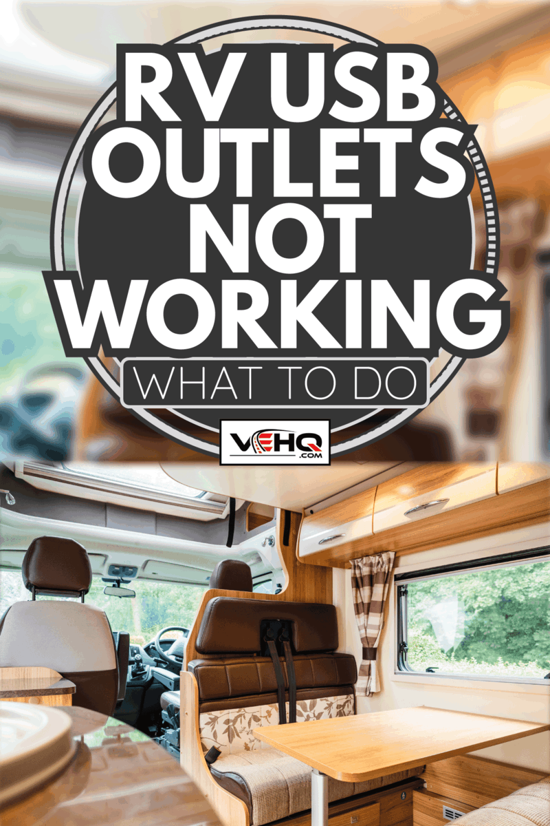 open plan motor home interior with seating area and table for several occupants. Skylight and windows letting in a lot of daylight. RV USB Outlets Not Working - What To Do