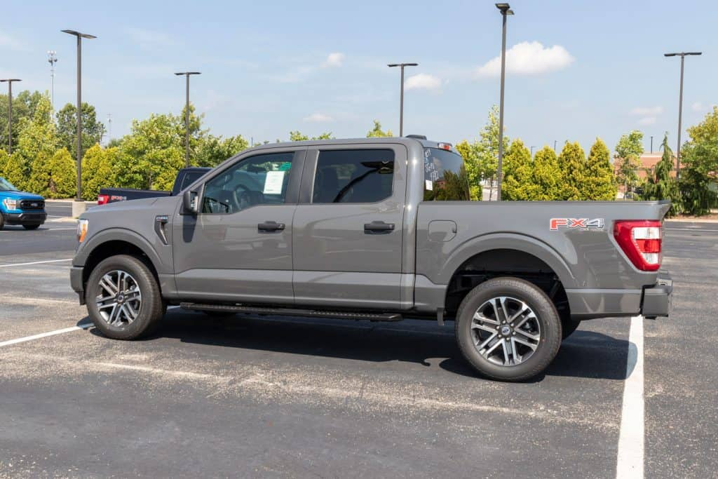 A grey Ford F-150 FX4 on the parking lot