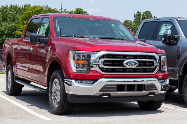 A red colored Ford F-150 at a parking lot, Ford F150 XL Vs XLT: What Are The Differences?