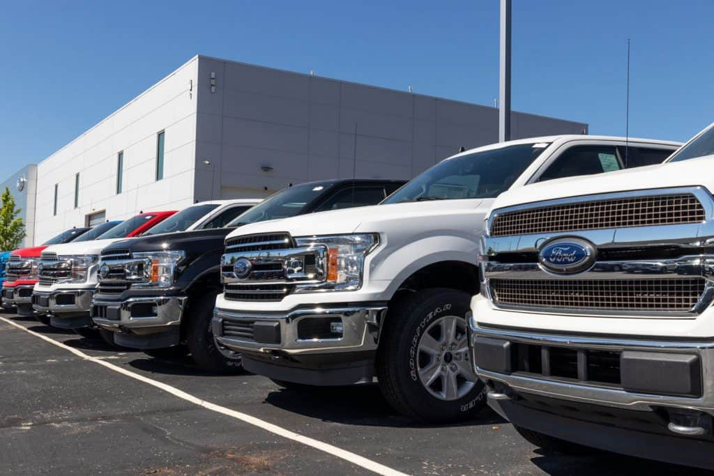 A line of Ford F series at a Ford dealership, How To Install A Brush Guard On A Ford F-150