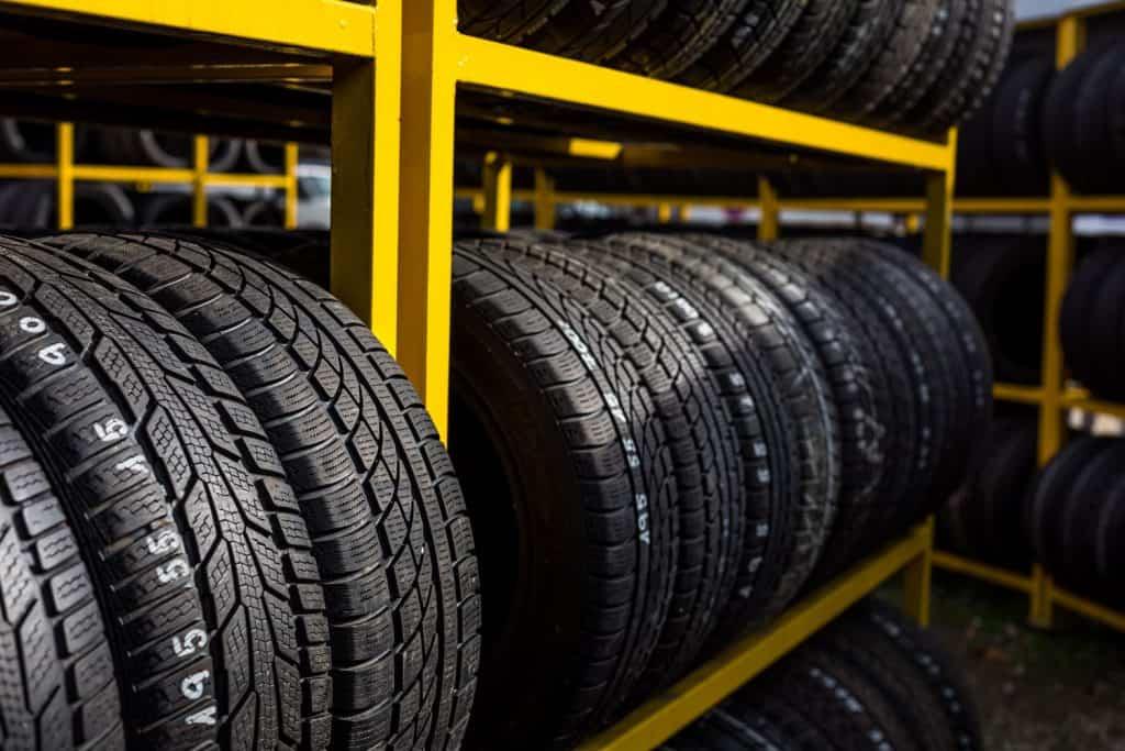 Car tires displayed at the shop