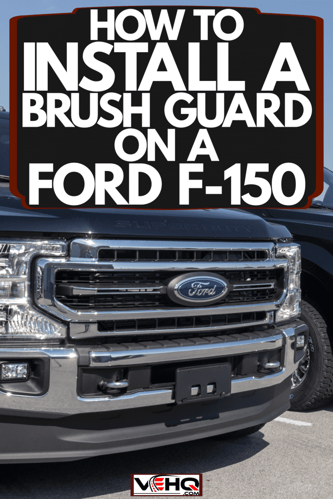 A line up of Ford F-150, F-250, F-350 Super Duty and Heavy Duty at the dealership, How To Install A Brush Guard On A Ford F-150